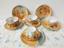 Vintage 1940's Hand Painted Tea Cup LOT Made in Japan OK w/ Crest Mark Luster