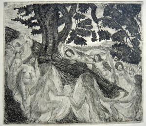 Poul S Christiansen, etching. Elven girls dancing. Pupil of Zahrtmann