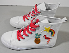 bab678385528 Cat   Jack White Lenora Embroidered High Top Sneakers YOUTH Size 5 Rainbow