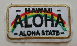 """Hawaii Aloha State License Plate Patch~2 3/4"""" x 1 5/8""""~Iron or Sew~FREE US Mail"""