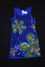 New with tag JUSTICE size 10 Sequin Dress Blue Mod Flower Dressy Holiday Party