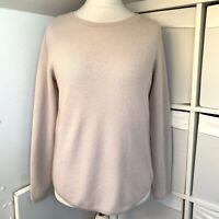 Jigsaw Light Blush Beige 100% Cashmere Jumper Size L 14 16 Soft Ribbed Knit