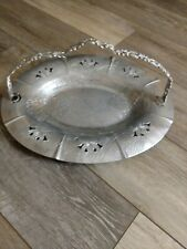 Vintage Farber and Shlevin Hammered Aluminum Serving Basket with Inlet Glass