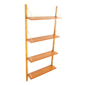 Retro Vintage Danish Teak Wall Book Shelves Wall System Bookcase 50s 60s 70s