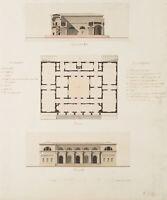R.OJETTI(*1845), Entwurf eines Akademiegebäudes für Bildhauer, Federzeichnung
