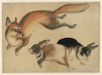 Japanese Drawing Reproduction: A Fox and Two Hares - Fine Art Print