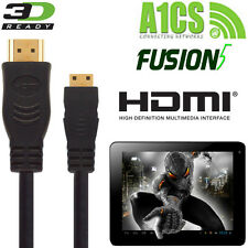 A1CS Fusion5, Xtra, X220 Android Tablet PC HDMI Mini to HDMI TV 3m Lead Cable