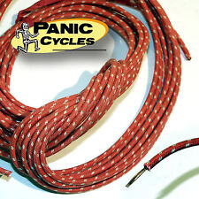 RED CLOTH COVERED WIRE 16 GA 25' VINTAGE REPLICA OEM HARLEY TRIUMPH BOBBER