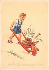 AK Zum Geburtstag Junge mit Schubkarre Baum Spaten Kinder Postkarte 1954