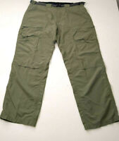 Exofficio Mens Pants Green Khaki Cargo 40x32 100% Nylon Fabric Hiking Outdoors