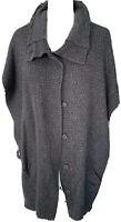 McDuff Cashmere Blend Knit Soft Warm Black Gray Open Front Cardigan Sweater L