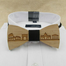 Wooden bow tie. Rome wood bow tie. Sky line bowtie wooden bamboo tie.