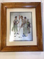 Wooden Framed Norman Rockwell Missed Sporting Boys Golf Foil Etch Print