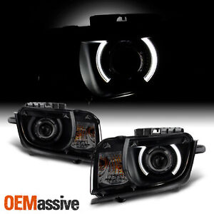Fit Smoked 2010 2011 2012 2013 Camaro CCFL Halo Projector Halogen Headlights