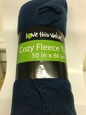 Cozy Fleece Throw Blanket 50x60 Inch Super Soft Throw Blanket - Blue Color USA