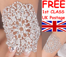 LARGE UPPER ARM OR WRIST CUFF ENCRUSTED WITH DIAMANTE RHINESTONE CRYSTALS