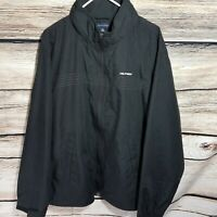 Tommy Hilfiger Mens Size XL Solid Black Zip Jacket Spell Out Zip Mesh Hooded