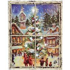 Lighted Christmas Scene CANVAS PRINT Primitive Distressed Window Frame 16x20