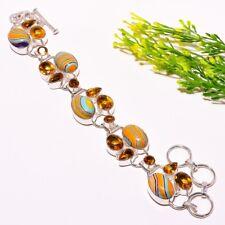 """Rainbow Calsilica, Honey Topaz Silver Fashion Jewelry Bracelet 7-8"""" SB-781"""