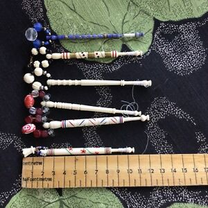 Vintage Hand Turned Lace Bobbins With Glass Spangles Pretty