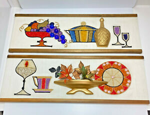 Vintage Mid Century Modern Gravel Pebble Art Grapes Glasses Wall Hanging Pair