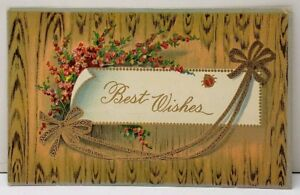 Best Wishes Gold Accent Floral 1911 Francestown to Manchester NH Postcard E11