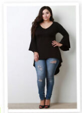 Womens BLACK Plus Size 4X High Low Bell Sleeves Asym Top WearOrGoBare