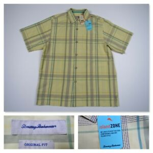 Tommy Bahama Original Yellow Plaid IslandZone Camp Shirt Mens Small Retails $128