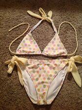 USED Victiria's Secret Sz Med Yellow Polka Dot Bikini