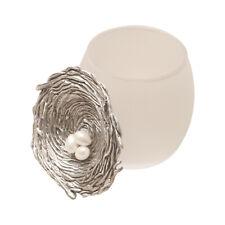 Cynthia Webb Designs Bird's Nest Trinket Jar - Pewter, Frosted Glass Jewelry Box