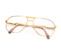 Vintage Hilton Exclusive 22 C2 Gold Unisex Eyeglasses Optical Frame Lunettes RX