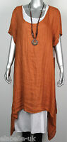 Ladies Italian 2 Piece Lagenlook Boho Side Split Linen Long Cotton Tunic Dress