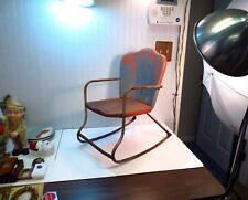 RARE Vintage Retro Mid Century Modern Outdoor Porch Metal Child's Rocking Chair