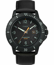 Timex TW4B14700,  Gallatin, Expedition Black Leather Watch, Solar Battery, Date