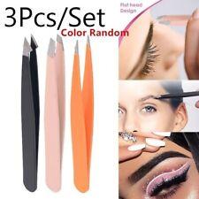 3pcs Stainless Steel Slant Tip Eyebrow Tweezer Hair Removal Makeup Tools Trendy