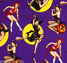 LINED VALANCE 42X16 HALLOWEEN BEWITCHED PIN UP GIRLS WITCH COSTUMES MOON DEVIL