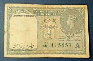 BRITISH INDIA PAKISTAN 1 RUPEE OVERPRINT NOTE KG VI 1948 SCARCE F-VF