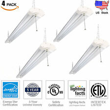 4 Pack 4 Ft 42W LED Garage Work Shop light Fixture Hanging with Pull Chain