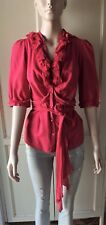 BETTINA LIANO: Frill Blouse Button Down Shirt Watermelon Red w/Sash Wrap Belt