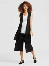 Eileen Fisher Black Long Organic Linen Tencel Belted Vest Large $218 *