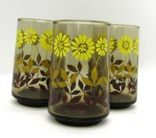 Daisy Smoky Amber Vintage Set of 3 JUICE GLASSES 3 7/8 in tall Yellow Brown Gold