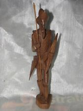 """Spanish Carved Wood Don Quixote Sculpture 12"""" w Spear Moving Shields."""