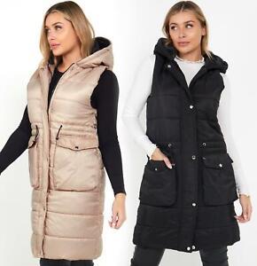 Womens Gilet Bodywarmer Jacket Quilted Padded Longline Waistcoat Size 10 14 12 8