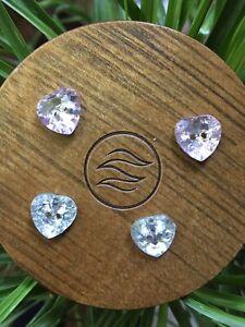 Set Of 4 matching HEART shape Clear Purplish Greenish sewing buttons