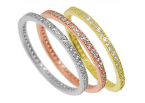 925 Sterling Silver Eternity Promise Wedding CZ Band Ring