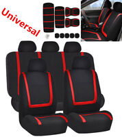 9Pcs Full Car Seat Covers Polyester For Auto Truck Van SUV 5 Heads Red & Black