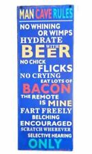 French Country Vintage Inspired Wall Tin Sign MAN CAVE RULES NO CHICK FLICKS ...
