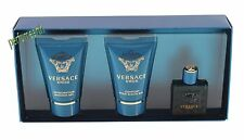 3 Pcs Versace Eros Mini Set 0.17oz./5ml Edt Splash For Men New In Box