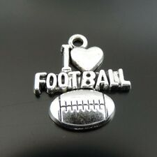 40X Antique Silver Tone Alloy I LOVE FOOTBALL letter Charm Pendants 20*18*2mm