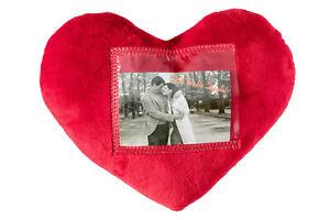 Plüschkissen Herz Valentinstag rot Fotorahmen Deko Sofa Couch weich 100% Poly